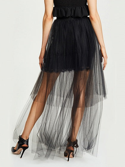 Black High Waist Asymmetric Hem Sheer Mesh Maxi Skirt
