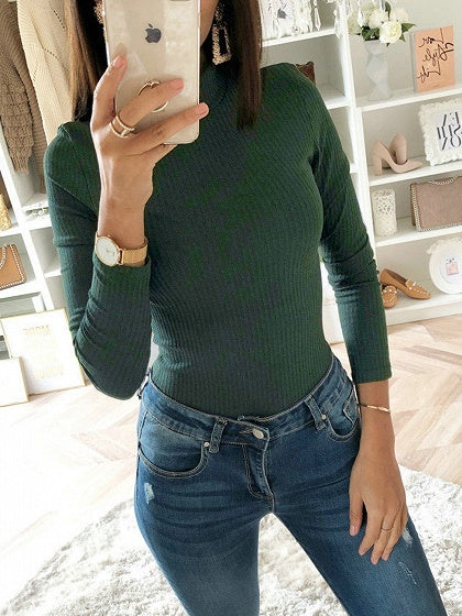 Green Ribbed High Neck Long Sleeve Women Bodysuit