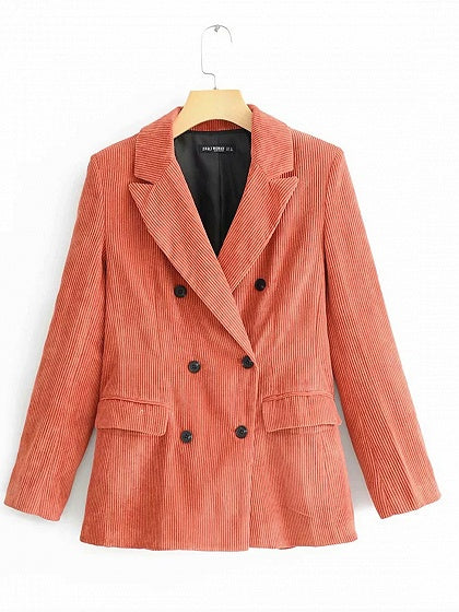 Pink Lapel Pockets Detail Long Sleeve Women Corduroy Blazer