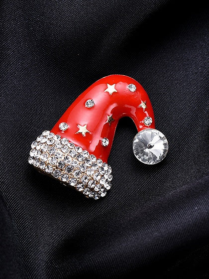 Red Rhinestone Embellished Christmas Hat Brooch
