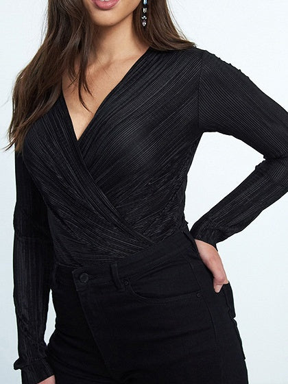 Black V-neck Ruched Detail Long Sleeve Women Bodysuit