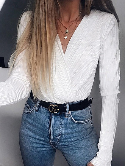 White V-neck Ruched Detail Long Sleeve Women Bodysuit