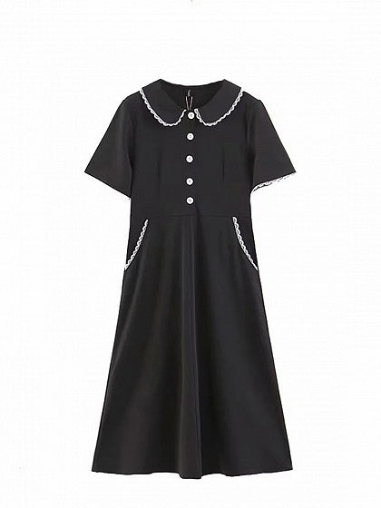 Black Cotton Lapel Button Placket Front Women Midi Dress