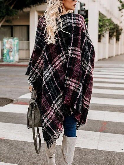 Red Plaid Open Front Batwing Sleeve Women Cape Cardigan