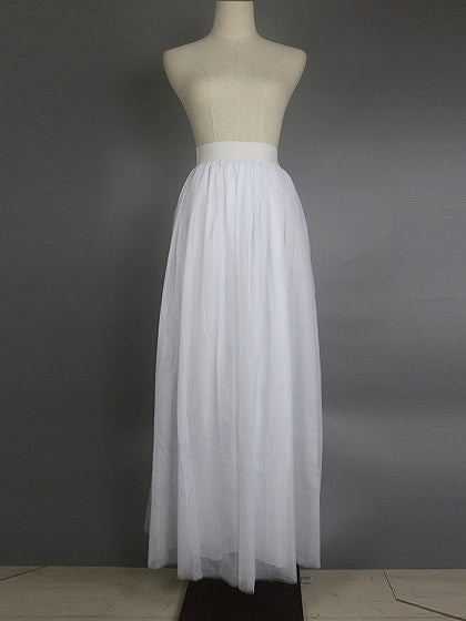 White High Waist Mesh Maxi Bubble Skirt