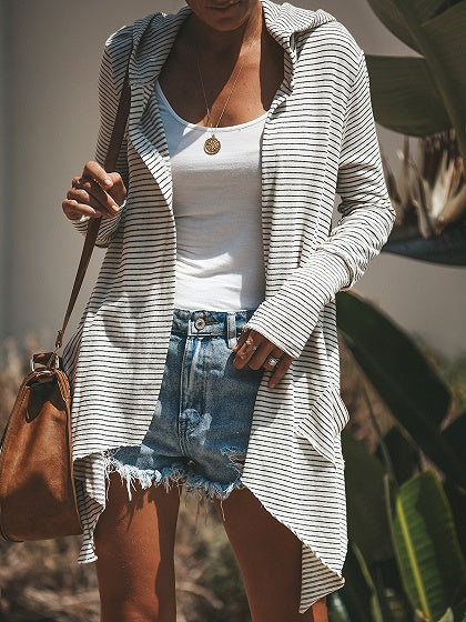 White Stripe Long Sleeve Women Cotton Hooded Cardigan