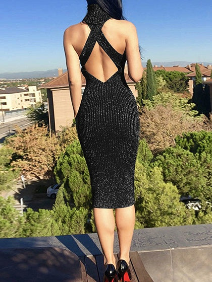Black Ribbed Halter Open Back Sleeveless Women Bodycon Dress