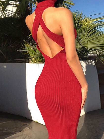Red Ribbed Halter Open Back Sleeveless Women Bodycon Dress