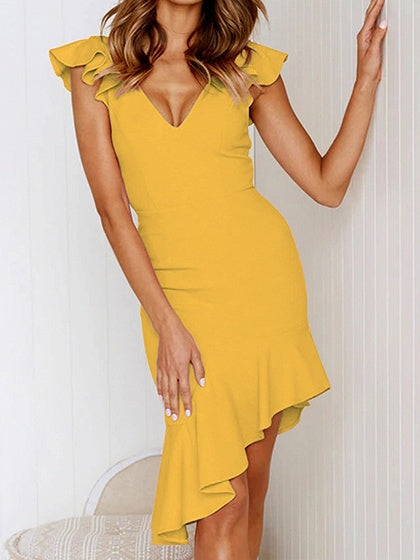 Yellow V-neck Ruffle Trim Asymmetric Hem Sleeveless Bodycon Dress