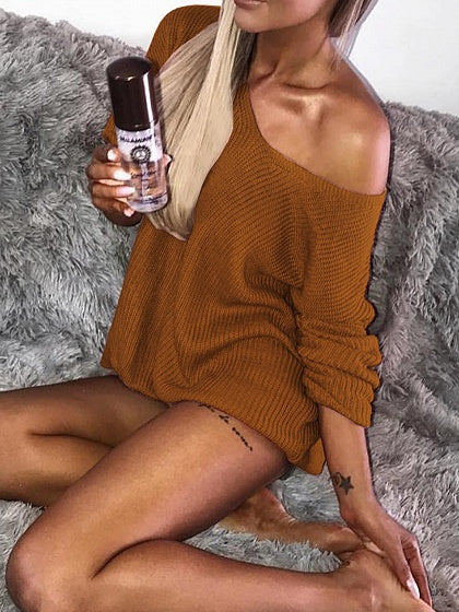 Brown Ribbed Asymmetric Neck Long Sleeve Bodycon Mini Dress