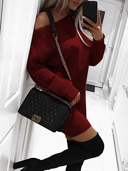 Burgundy Ribbed Asymmetric Neck Long Sleeve Bodycon Mini Dress