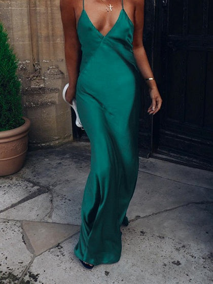 Green Satin Look V-neck Open Back Women Cami Maxi Dress