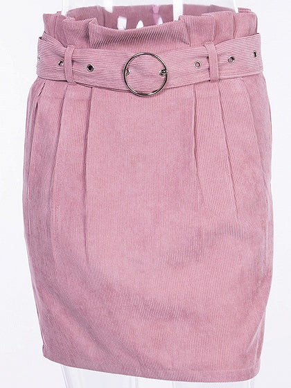 Pink High Waist Frill Trim Women Corduroy Mini Skirt