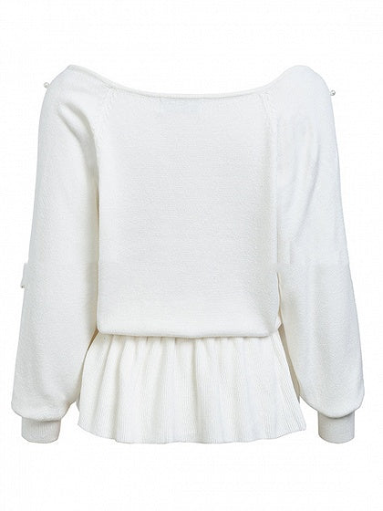 White V-neck Beaded Detail Ruffle Hem Long Sleeve Women Sweater