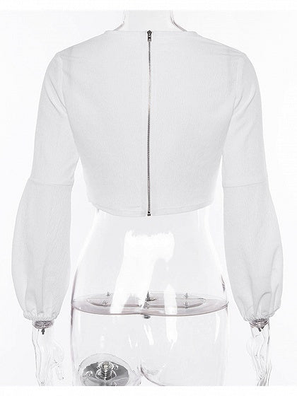 White Ruched Detail Front Puff Sleeve Women Crop Top