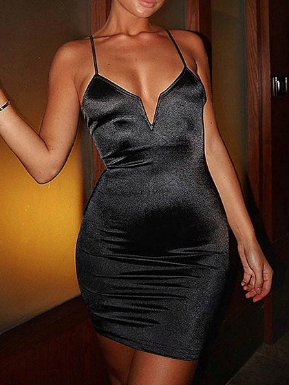 Black Plunge Women Bodycon Cami Mini Dress