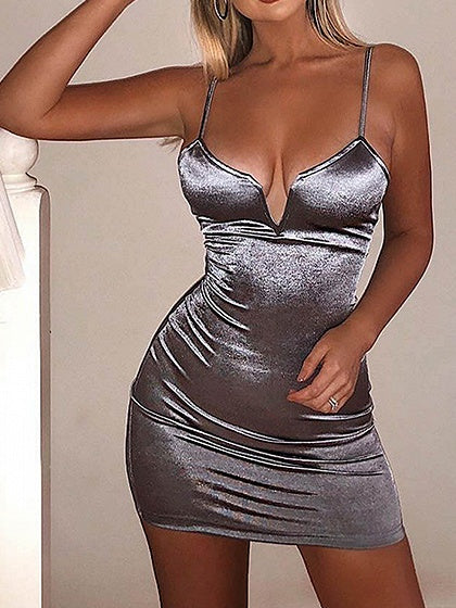 Gray Plunge Women Bodycon Cami Mini Dress