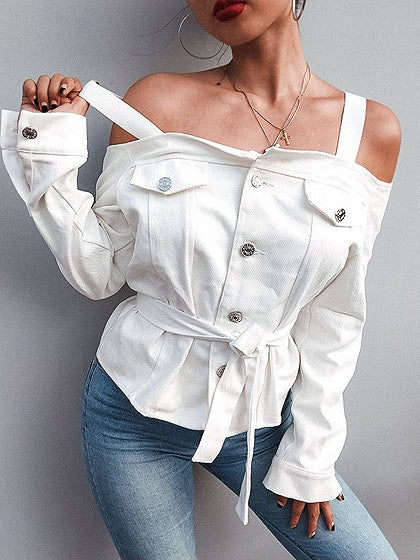 White Cold Shoulder Button Placket Front Long Sleeve Denim T-shirt