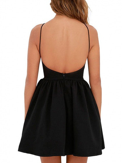 Summer Black Spaghetti Strap Backless High Waist Skater Party Mini Dress