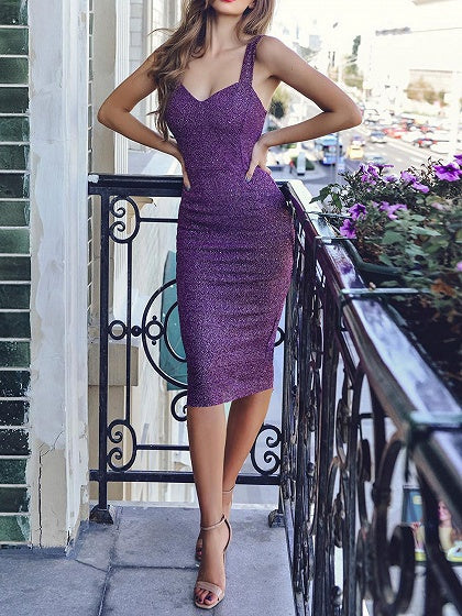 Purple V-neck Split Back Women Bodycon Cami Dress