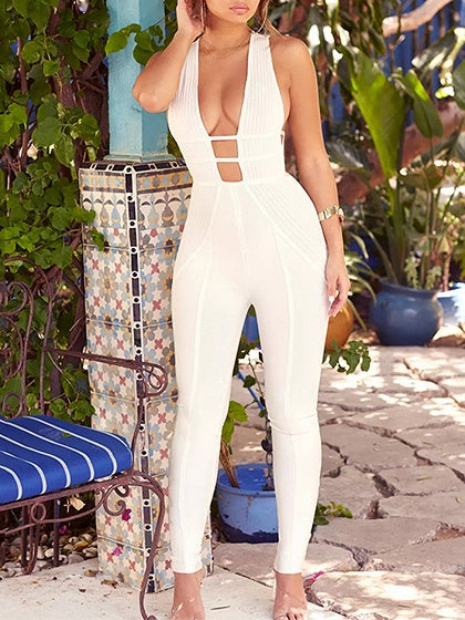 White Cotton Plunge Cross Strap Back Sleeveless Women Jumpsuit