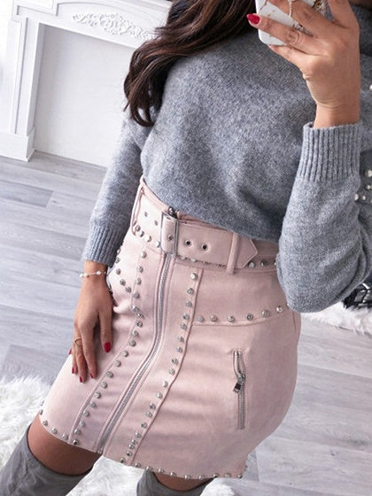 Pink High Waist Buckle Strap Stud Detail Suede Mini Skirt