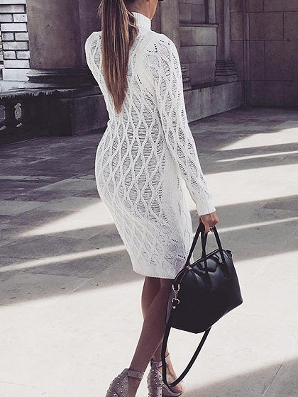 White Cotton High Neck Long Sleeve Women Bodycon Mini Dress