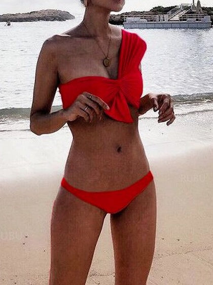 Red One Shoulder Knot Front Women Bikini Top And Bottom