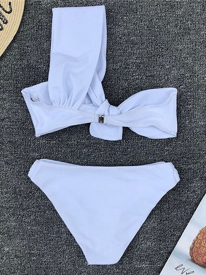 White One Shoulder Knot Front Women Bikini Top And Bottom
