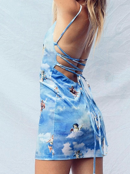 Blue Angel Print Lace Up Back Women Bodycon Cami Mini Dress