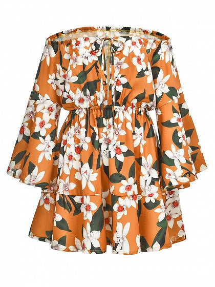 Polychrome Chiffon Off Shoulder Floral Print Flare Sleeve Mini Dress