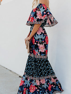 Polychrome Off Shoulder Floral Print Ruffle Trim Women Maxi Dress