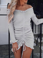 Gray Ribbed Off Shoulder Flare Sleeve Women Bodycon Mini Dress