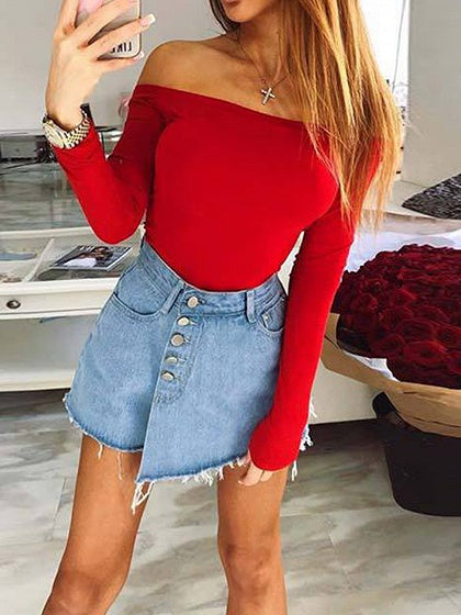 Red Off Shoulder Long Sleeve Women Bodysuit