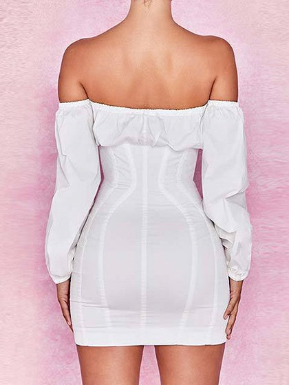 White Off Shoulder Puff Sleeve Women Bodycon Mini Dress