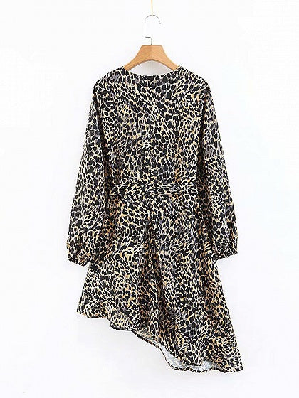 Brown V-neck Leopard Print Asymmetric Hem Long Sleeve Mini Dress