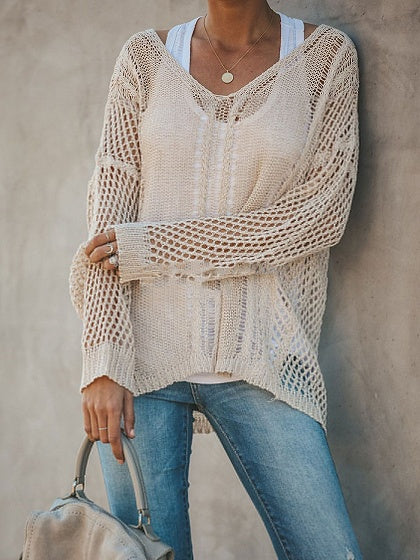 Beige V-neck Cut Out Detail Long Sleeve Women Sweater 8cf4cdd70