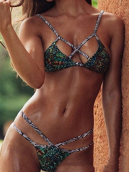 Green Leopard Print Cross Strap Front Bikini Top And High Waist Bottom