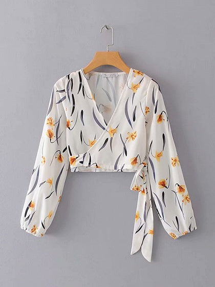 White V-neck Floral Print Tie Front Puff Sleeve Women Crop Blouse
