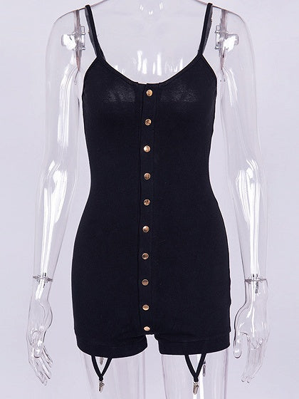 Black Spaghetti Strap Button Placket Front And Back Women Bodysuit