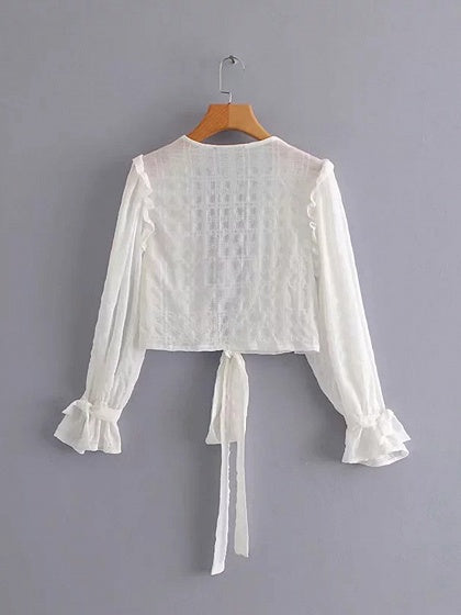 White Cotton Plunge Tie Front Puff Sleeve Women Blouse