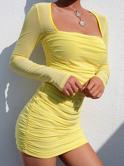 Yellow Square Neck Long Sleeve Women Sheer Mesh Bodycon Mini Dress