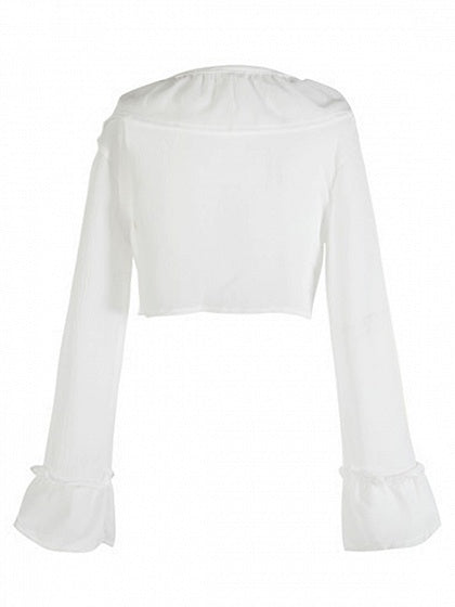 White Chiffon V-neck Ruffle Trim Flare Sleeve Women Crop Blouse