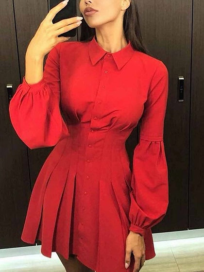 Red Cotton Button Placket Front Puff Sleeve Women Mini Dress
