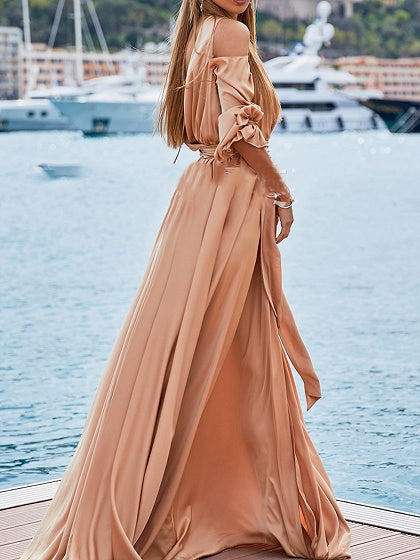 Pink Cold Shoulder V-neck Open Back Puff Sleeve Women Maxi Dress