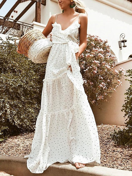 White V-neck Polka Dot Print Tie Waist Women Cami Maxi Dress