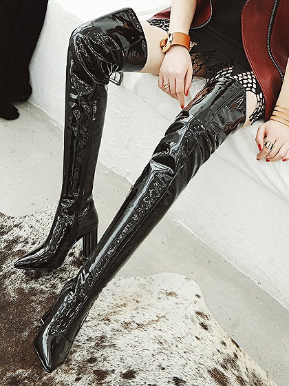 e8592b8d72b Black Leather Look Pointed Toe High Heeled Over the Knee Boots ...