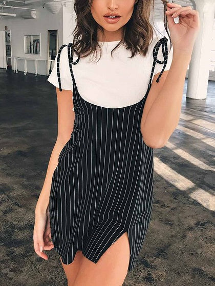 Black Stripe Split Front Open Back Women Cami Mini Dress