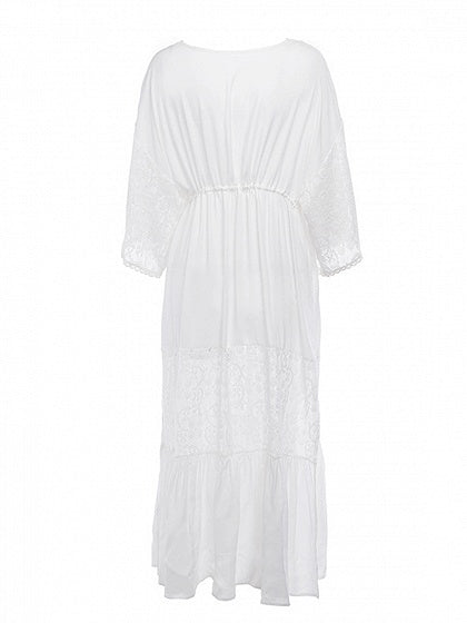 White Plunge Lace Panel Drawstring Waist Flare Sleeve Maxi Dress