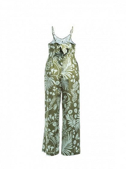 Green Spaghetti Strap V-neck Leaf Print Women Jumpsuit